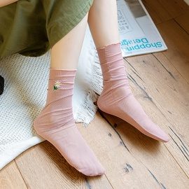 Mesh Daisy Embroidery Loose Curled Socks  NSFN40139