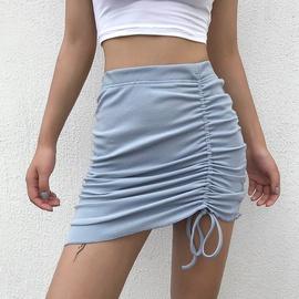 Slim Ribbed Drawstring Pleated Skirt  NSLQ40145