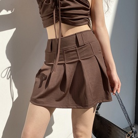 High Waist Solid Color Casual Pleated Skirt NSLQ40152