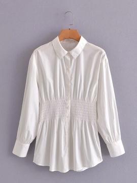 Lapel Long-sleeved Pleated Waist Shirt NSAM40155
