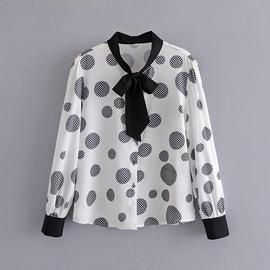Polka-dot Lace-up Bow-knot Long-sleeved Shirt NSAM40159