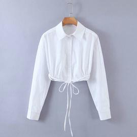 Spring Strappy Design Short Poplin Shirt NSAM40166