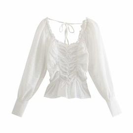Fashion Casual Square Collar Pleated Shirt  NSAM40167