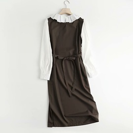 Fashion Pleated Contrast Color Doll Collar Mid-length Dress  NSAM40176
