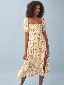 Print Square Neck Puff Sleeve Slit Dress NSAM40178