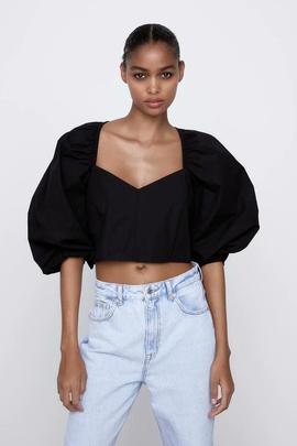 Fashion Puff Sleeve Poplin Slim Short Top NSAM40188
