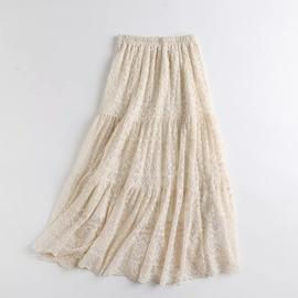Elastic Waist Lace Flower Crochet Skirt NSAM40190