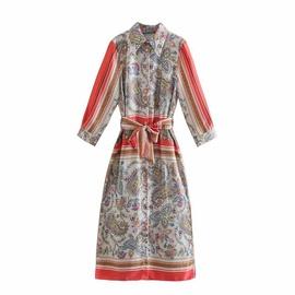 Spring Printed Strapped Shirt Dress  NSAM40195