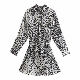 Spring Animal Print Shirt Short Dress  NSAM40197