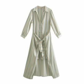 Fashion Strapped Striped Shirt Dress NSAM40206