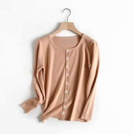 New Spring Single-breasted Knit Round Neck Long-sleeved Tops NSAM40214