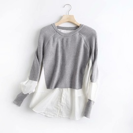 Round Neck Fake Two Piece Stitching Sweater  NSAM40223
