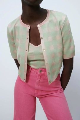 Spring Grid Knitted Cardigan Jacket NSAM40225