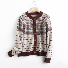 Round Neck Jacquard Knitted Cardigan   NSAM40227