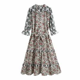 Print Slim Long-sleeved Temperament Dress NSAM40235