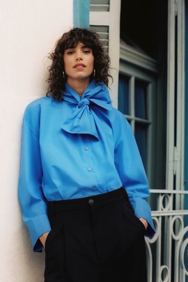 Spring Bow Decorated Poplin Blouse  NSAM40246
