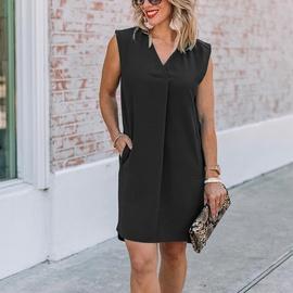 Casual Loose V-neck Chiffon Sleeveless Dress  NSKL40319