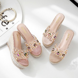 New Summer Platform Slope High Heels Thick Bottom Rhinestone Slippers NSHU40420