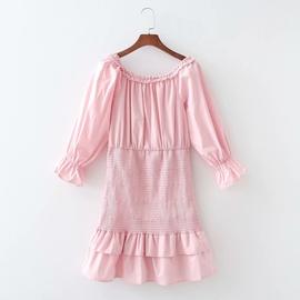 One-word Shoulder Elastic Bag Hip Double Layer Dress  NSAM40237
