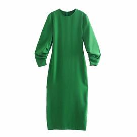 Spring Fold Decoration Midi Dress NSAM40228
