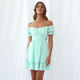 Solid Color Sexy Oblique Shoulder Dress NSYI40459
