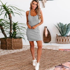 Solid Color Sexy Button Camisole Dress NSKL47019