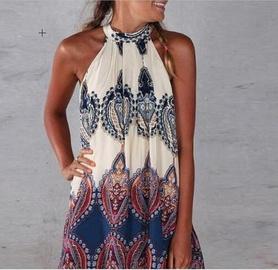 Fashion Sleeveless Printed Zipper Dress NSYF47029