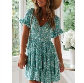 Print V-neck Lace-up Short-sleeved Dress NSYF47035