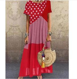 Wave Dot Stitching Plaid Short-sleeved Long Dress NSYF47040