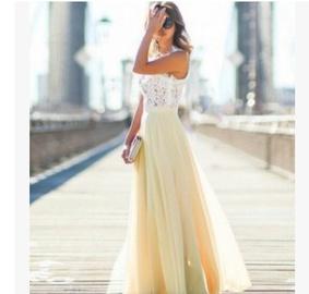 Sleeveless Lace Stitching Chiffon Long Dress  NSYF47048