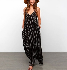 Suspenders Wave Dots Pockets Big Swing Dress NSYF47056