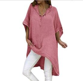 Irregular Cotton And Linen V-neck Dress NSYF47086