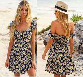 Fashion Printed Front Button Dress NSYF47088