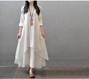 Loose Cotton And Linen Fake Two-piece Long Dress  NSYF47097