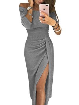 Off-shoulder Long Sleeve Shiny Irregular Dress NSCZ47161
