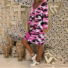 V-neck Printing Long-sleeved Mid-length Dress  NSKX47178