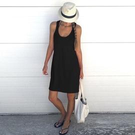 Solid Color Sleeveless Vest Dress  NSKX47182