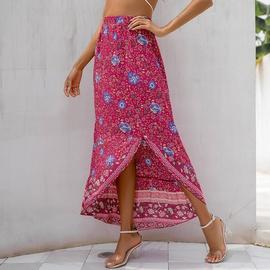 Printing Bohemian Irregular Slit Hem Skirt NSSA47185