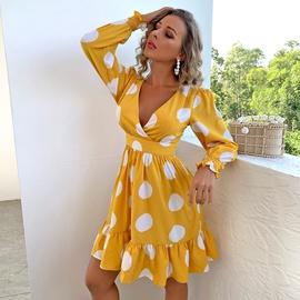 Fashion Polka-dot Long-sleeved Short Dress NSYI47339
