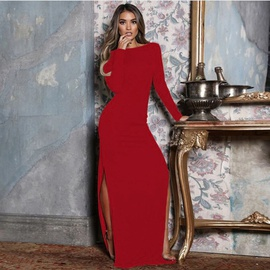 Backless Split Long Sleeve Long Dress NSKX47343