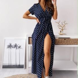 Strapped Printed Polka Dot Dress  NSAXE47361