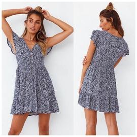 Breasted Short-sleeved V-neck Floral Dress NSAXE47365