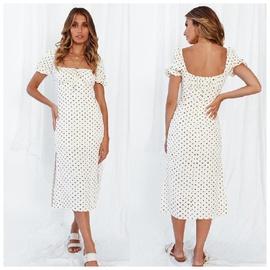 Short-sleeved Lace-up Hem Split Dress NSAXE47366
