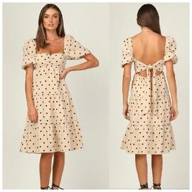 Short-sleeved Polka-dot High-waist Mid-length Dress NSAXE47367