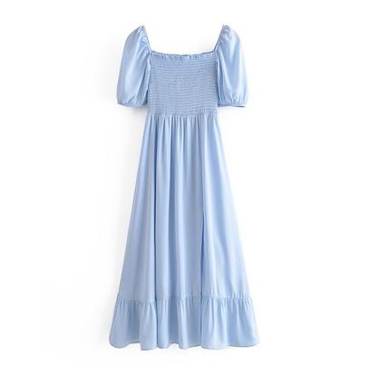 Square Neck Puff Sleeve Split Dress  NSAM48689