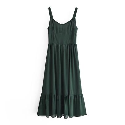 Solid Color Ruffled Big Swing Suspender Dress NSAM48691