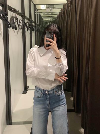 Lapel Long Sleeve White Shirt NSAM48693
