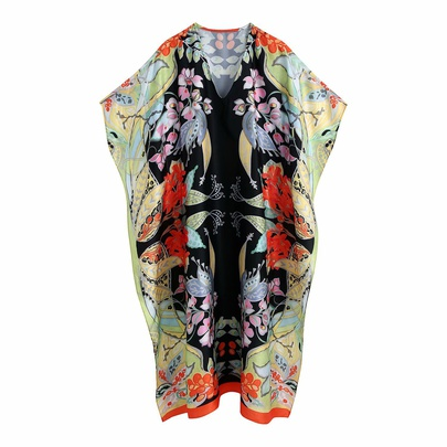 V-neck Printing Loose Long Dress NSAM48696