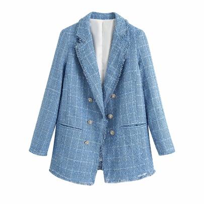 Fashion Button Front Knit Long Sleeve Blazer NSAM48698