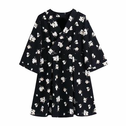 Fashion Printed V-neck Girdle Dress  NSAM48702